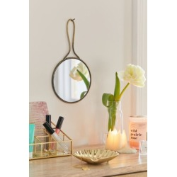 Lori Round Hand Mirror - Brown at Urban Outfitters