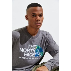 The North Face Recycled Material Long Sleeve Tee - Grey S at Urban Outfitters