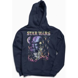 Star Wars Flaming Galaxy Hoodie Sweatshirt - Blue S at Urban Outfitters