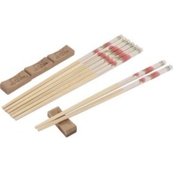 Bamboo Flower Pattern Chinese Style Wedding Gift Chopsticks 4 Pairs w Cushions