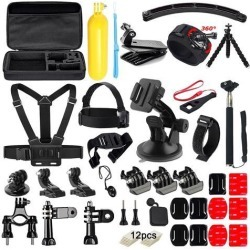 Wanmingtek 50 in 1 Action Camera Accessories Kit for GoPro Hero 5 4 3+ 3 2 1 with Carrying Case/Chest Strap/Octopus Tripod