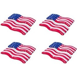 Swimline Inflatable American Flag Swimming Pool Lake Connect Mat Float (4 Pack)