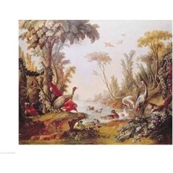 Posterazzi BALXIR162612LARGE Lake with Geese Storks Parrots & Herons From The Salon...