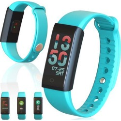 Indigi® Fitness Bracelet & SmartWatch w/ Built-in Heart Rate Sensor Pedometer & SPO2 Level Readings For All iOS and Android Devices