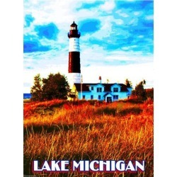 Lake Michigan Lighthouse United States of America Travel Advertisement Poster found on Bargain Bro India from Newegg Business for $17.05