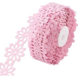 Wedding Gift Decor Polyester Flower Print Satin Ribbon Roll Pink 20 Yards...