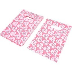 90pcs Pink White Store Plastic Handbag Tote Supplies Carrier Holder Wedding Gift...
