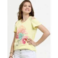 Blusa Juvenil Open Shoulder Estampa Frontal Manga Curta Marisa found on Bargain Bro Philippines from marisa.com.br for $12.74
