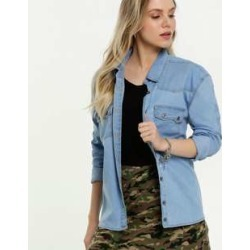 Camisa Feminina Jeans Manga Longa Marisa found on Bargain Bro from marisa.com.br for USD $36.87