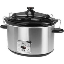 Kalorik Stainless Steel 8 Qt. Digital Slow Cooker with Locking Lid
