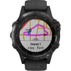 Garmin - fenix® 5 Plus Sapphire Smartwatch 47mm Fiber-Reinforced Polymer - Black with Black Band