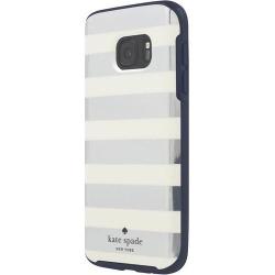 kate spade new york - Hybrid Hardshell Case for Samsung Galaxy S7 - Navy/Cream/Candy Stripe Silver Foil