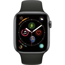 Apple - Apple Watch Series 4 (GPS) 44mm Space Gray Aluminum Case with Black Sport Band - Space Gray Aluminum