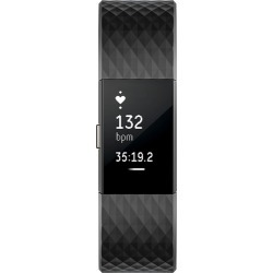 Fitbit - Charge 2 Activity Tracker + Heart Rate (Large) - Black Gunmetal