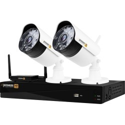 Defender - 4-Channel, 2-Camera Indoor/Outdoor Wireless 4MP 1TB DVR Security System - Black/white
