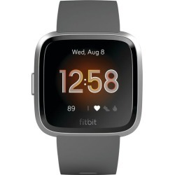 Fitbit - Versa Lite Edition Smartwatch - Silver with Charcoal Silicone Band