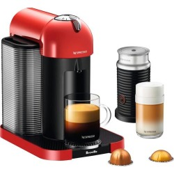 Nespresso - Vertuo Coffee Maker and Espresso Machine with Aeroccino Milk Frother by Breville - Red