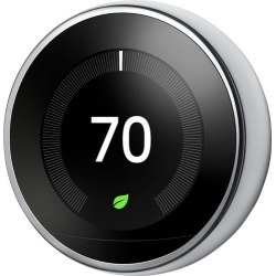 Google - Nest Learning Thermostat - 3rd Generation - Stainless Steel