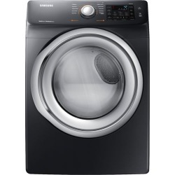 Samsung - 7.5 Cu. Ft. 10-Cycle Electric Dryer with Steam - Fingerprint Resistant Black Stainless Steel