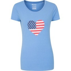 USA Heart Womens Tee - Blue