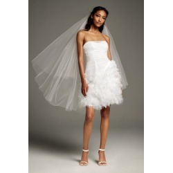 05963b335ecd Draped Tulle Mini Dress with 3D Floral Skirt Style VW351479. David's Bridal