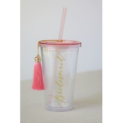 Bridesmaid Tumbler with Straw and Tassel Style 37423 found on Bargain Bro India from David's Bridal for $9.95