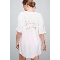 Hitched and Sunkissed Pom Pom Kimono Pool Cover Up Style IH8600PZ968