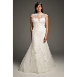 3a075370e433 Chantilly Lace Plus Size Trumpet Wedding Dress Style 8VW351427 found on MODAPINS  from David's Bridal for