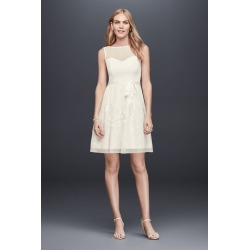 c32b55e7ead8 Illusion Bodice Short A-Line Dress with Embroidery Style EJ8M7573. David's  Bridal