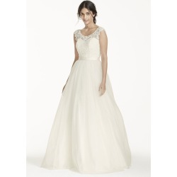 62fbe8bb4197 As-Is Tulle Wedding Dress with Lace Illusion Neck Style AI10012386. David's  Bridal