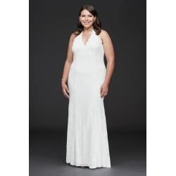 Low Back Eyelash Lace Halter Plus Size Dress Style 9DS870149