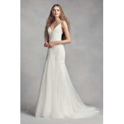 af5dab35efdc White by Vera Wang Plunging Sheath Wedding Dress Style VW351369 found on MODAPINS  from David's Bridal