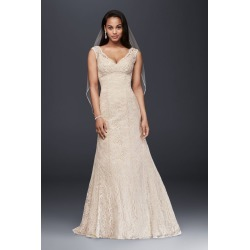 9f44f5d45ec5 All Over Beaded Lace Trumpet Wedding Dress Style T9612 found on MODAPINS  from David's Bridal for