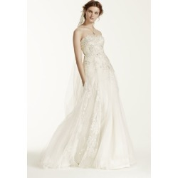 f81c7ae2b526 Melissa Sweet Tulle Wedding Dress with 3D Flowers Style MS251115 found on  MODAPINS from David's Bridal