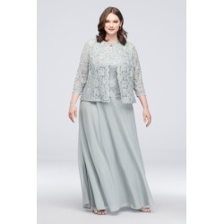 Three-Piece Plus Size Skirt and Lace Cardigan Set Style 760270D
