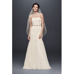 a588037d880a Extra Length Strapless Lace Dress with Tulle Skirt Style 4XLKP3765. David's  Bridal