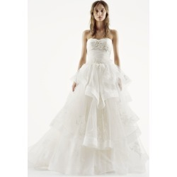 e485fc3b6911 White by Vera Wang Strapless Tulle Wedding Dress Style VW351197 found on MODAPINS  from David's Bridal