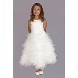 Tiered Tulle Flower Girl Gown with Floral Belt Style FG-110