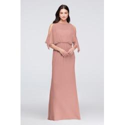 Cold-Shoulder Blouson Chiffon Bridesmaid Dress Style F19712