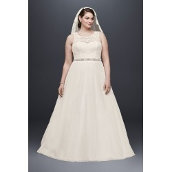 db9bbc452c7c A-line Plus Size Wedding Dress with Tulle Skirt Style 4XL9WG3711. David's  Bridal