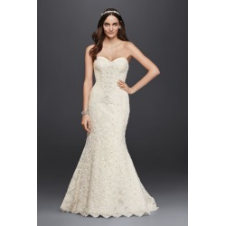 42ccffe2d42c Oleg Cassini Strapless Lace Trumpet Wedding Dress Style CRL277 found on MODAPINS  from David's Bridal for