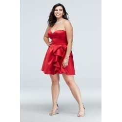 Bow Ruffle Strapless Fit-and-Flare Plus Size Dress Style 1621BNW
