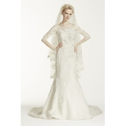 b208da3f4739 Oleg Cassini Illusion 3/4 Sleeve Wedding Dress Style CWG638 found on  MODAPINS from David's