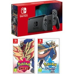 Nintendo Swith - Grey (Improved Battery) + Pokemon Sword + Pokemon Shield for Switch