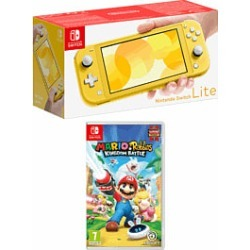 Nintendo Switch Lite - Yellow with Mario and Rabbids Kingdom Battle for Switch