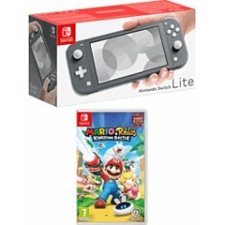 Nintendo Switch Lite - Grey with Mario and Rabbids Kingdom Battle for Switch