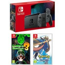 Nintendo Swith - Grey (Improved Battery) + Luigi's Mansion 3 + Pokemon Sword for Switch