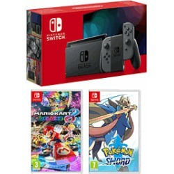 Nintendo Swith - Grey (Improved Battery) + Mario Kart 8 Deluxe + Pokemon Sword for Switch