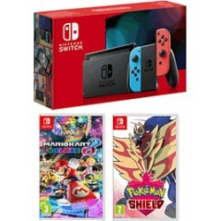 Nintendo Swith - Neon (Improved Battery) + Mario Kart 8 Deluxe + Pokemon Shield for Switch