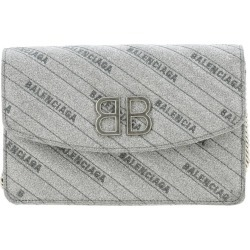 Mini Bag Bb Chain Mini Wallet Bag In Glitter Fabric With All-over Embossed Logo By Balenciaga found on Bargain Bro UK from giglio.com uk